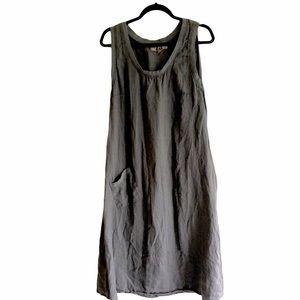 FLAX Sleeveless Linen Dress Front Pocket Grey S